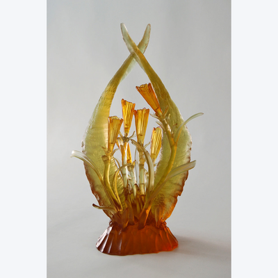 Boyd-Dunlop Gallery Napier Hawkes Evelyn Dunstan Lost Cast Wax Glass Sculpture Crystal Gaffer Glass Floral Gold