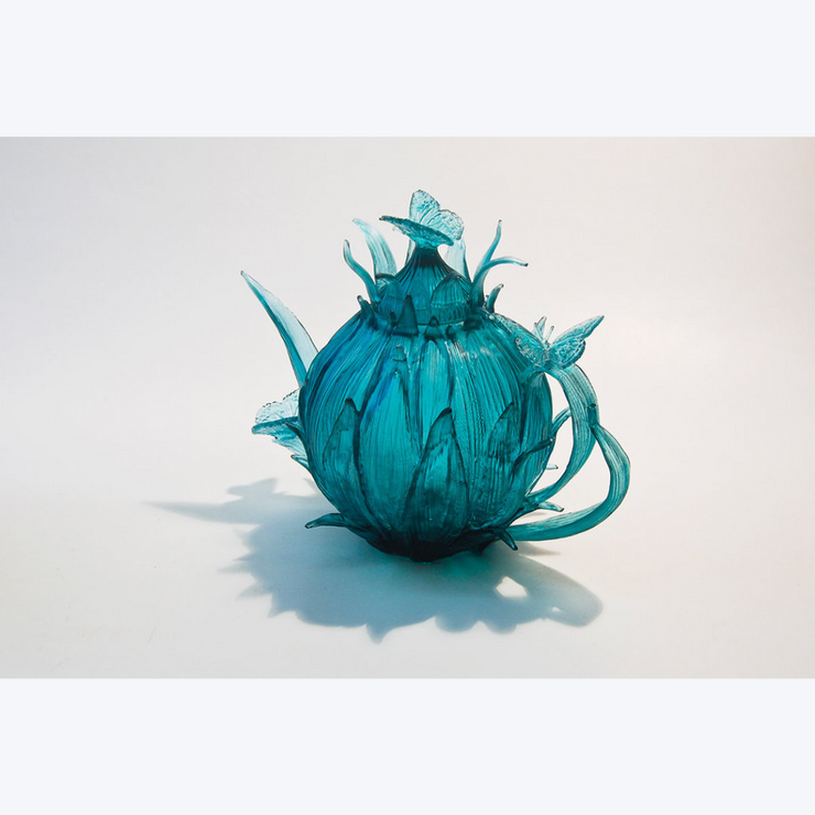 Boyd-Dunlop Gallery Napier Hawkes Evelyn Dunstan Lost Cast Wax Glass Sculpture Crystal Gaffer Glass Floral Tea pot Blue