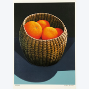 Oranges in a Seagrass Basket Michael Smither Limited Edition Screenprints Boyd-Dunlop GalleryBoyd-Dunlop Gallery Napier Hawkes Bay Hastings Street Michael Smither Screen Print New Zealand Painter Abstract Expressionism