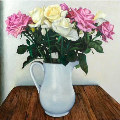 Boyd-Dunlop Gallery Napier Hawkes Bay Hastings Street Dick Frizzell Fine Art Prints Screen Print Editions Limited Advertising illustration painting roses flowers vase still life