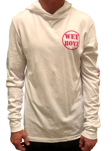 Long Sleeve Hooded Tee - White