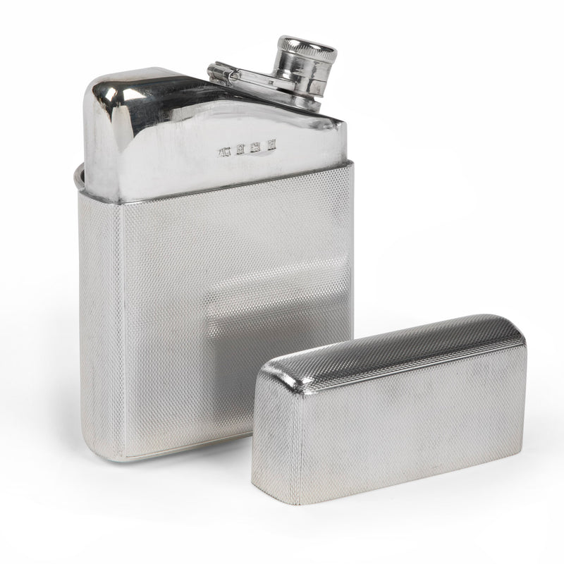 A. Wilcox Sterling Silver Engine Turned Hip Flask
