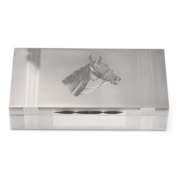 A.Wilcox Sterling Engine Turned Engraved Horse Cigar Box