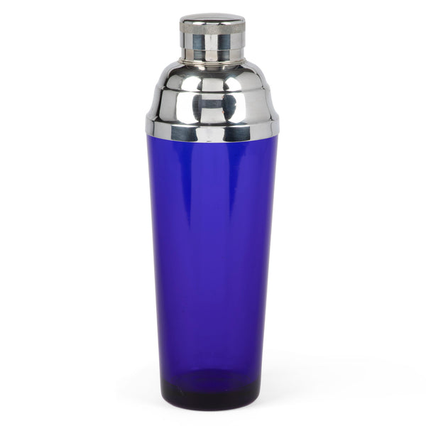 Art Deco Chrome & Cobalt Blue Glass Cocktail Shaker