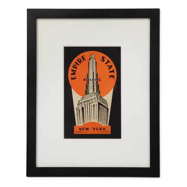 Art Deco Empire State Building New York Luggage Label