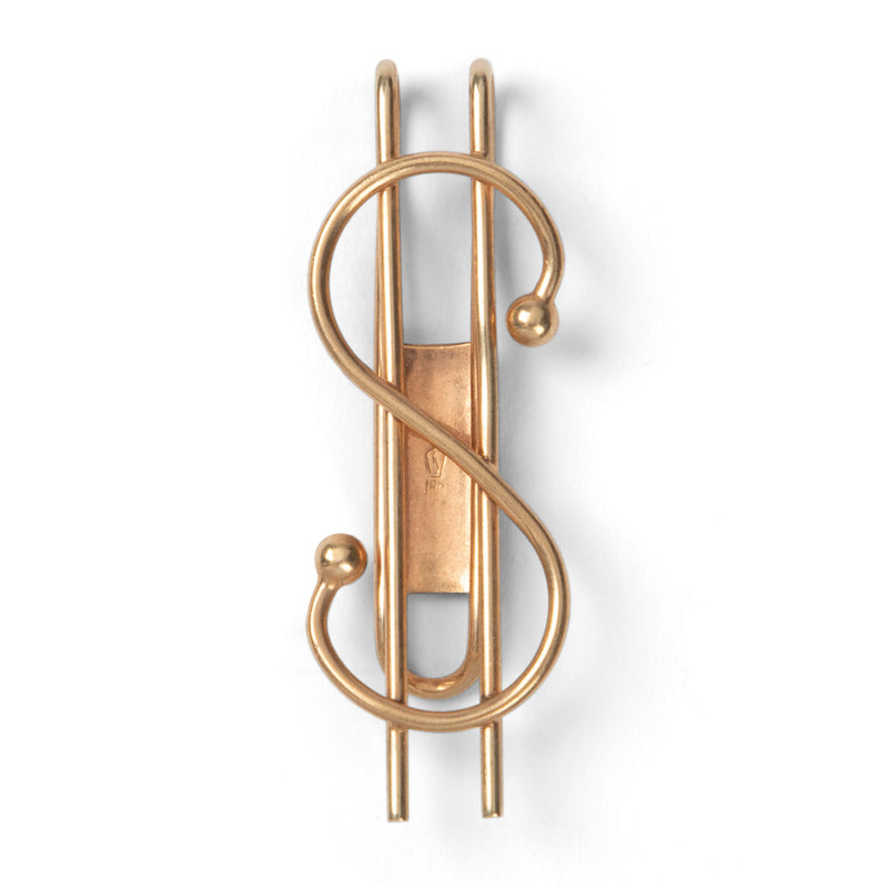 Art Deco Gold Dollar Symbol Money Clip