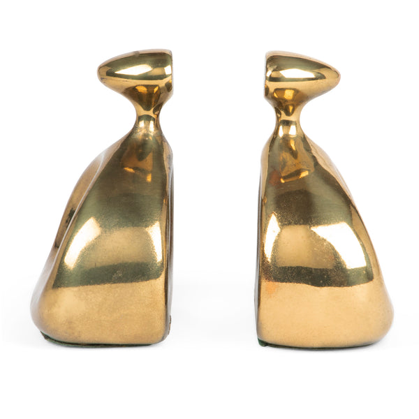 Ben Siebel Mid-Century Brass Stirrup Bookends Side