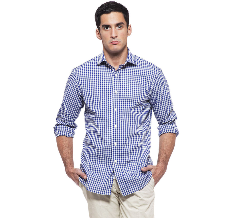 Clarendon Navy Gingham Shirt