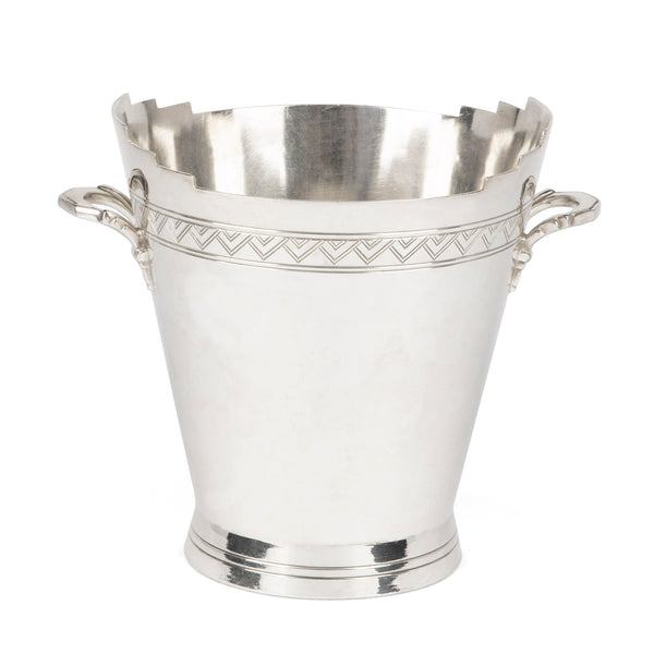 English Art Deco Silver-Plated Ice Bucket by Keith Murray