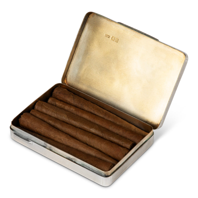English Sterling Engine Turned Cigarette Case