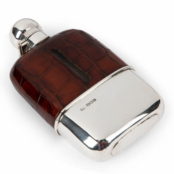 English Sterling Silver & Crocodile Hip Flask
