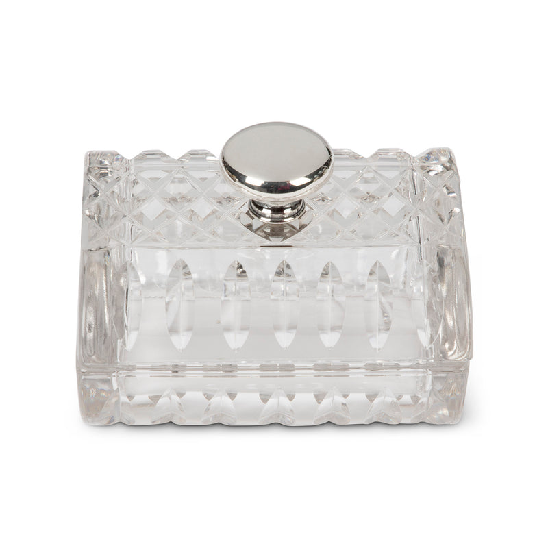 Hawkes Sterling Cut Crystal Cigarette Box