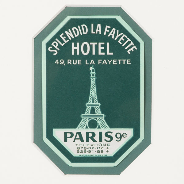 Hotel Lafayette Paris Luggage Label