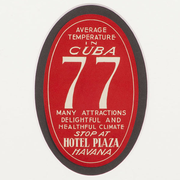 Hotel Plaza Havana Cuba Luggage Label