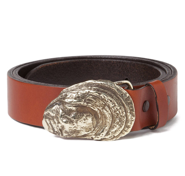 Oyster Shell Buckle with Antique Tan Leather Belt