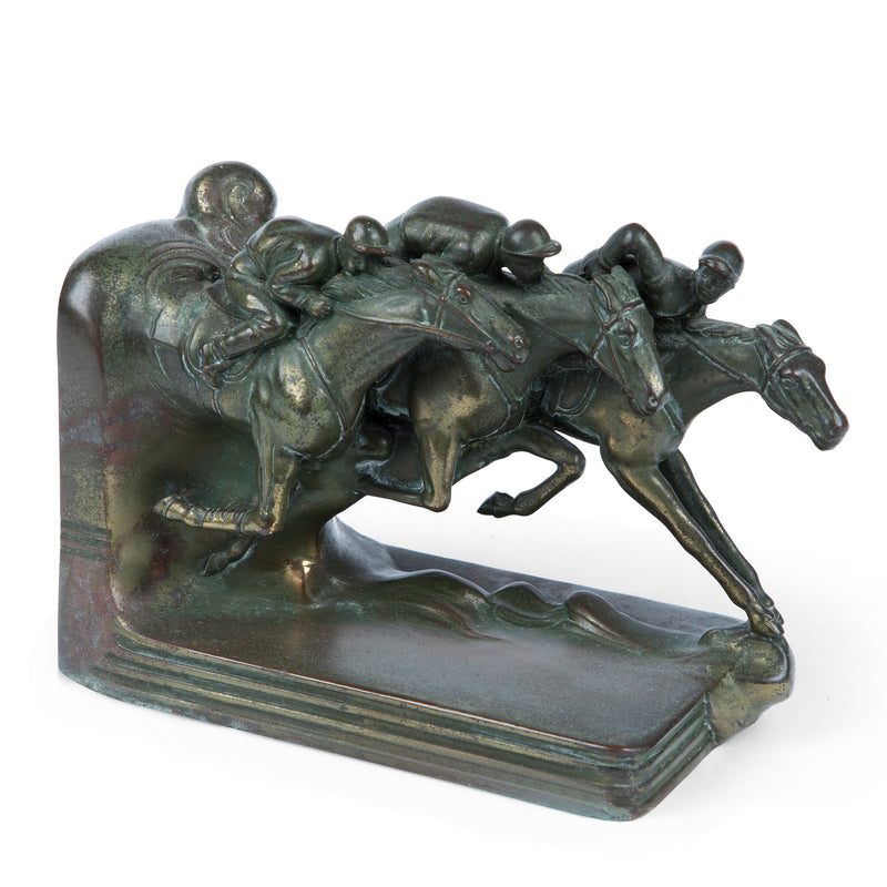 Jenning Brothers Bronze Horse Race Bookends