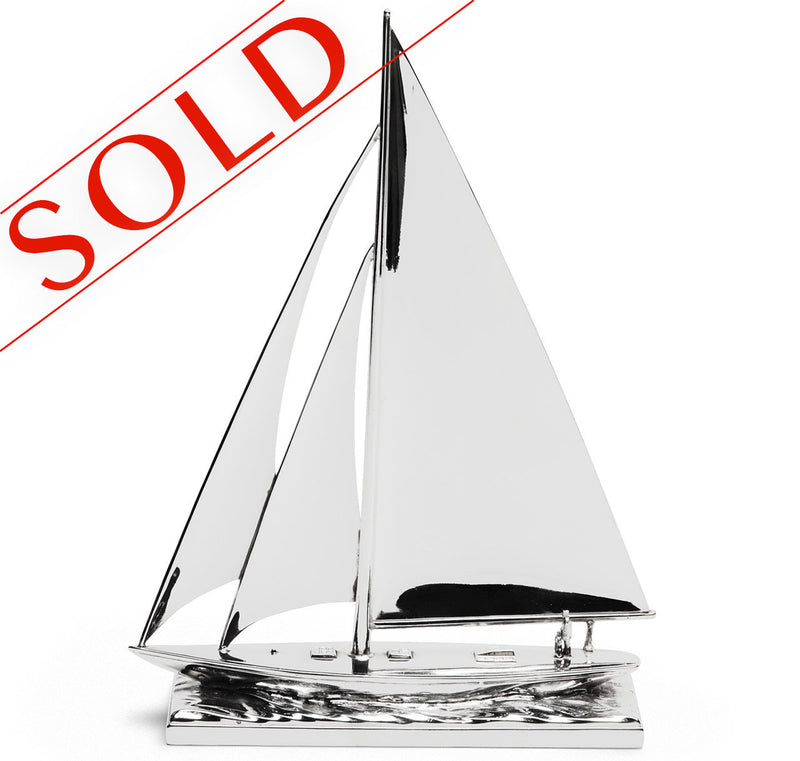 Large Silver-Plated Sailboat Model