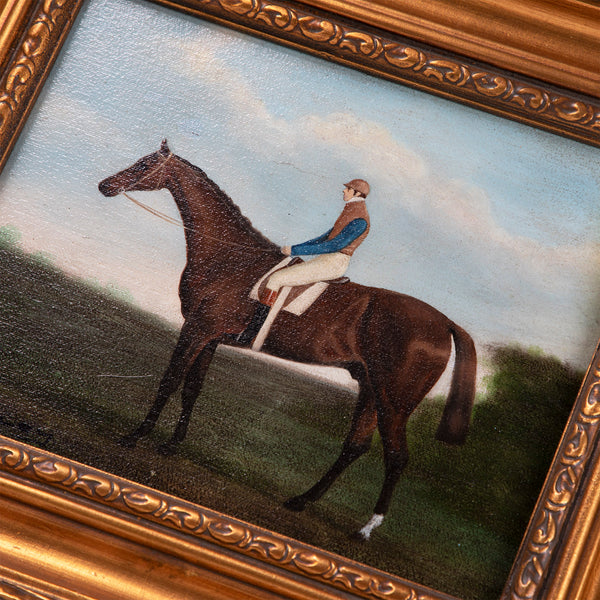Equestrian Portrait Jockey Up - Oil on Canvas, Shipley