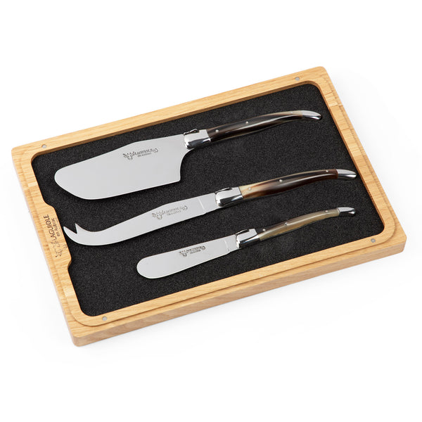 Laguoile Three Piece Cheese Knife Set Horn