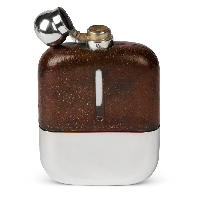 Large James Dixon & Sons Silver and Leather Flask