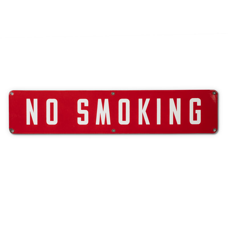 Vintage Red Porcelain No Smoking Sign