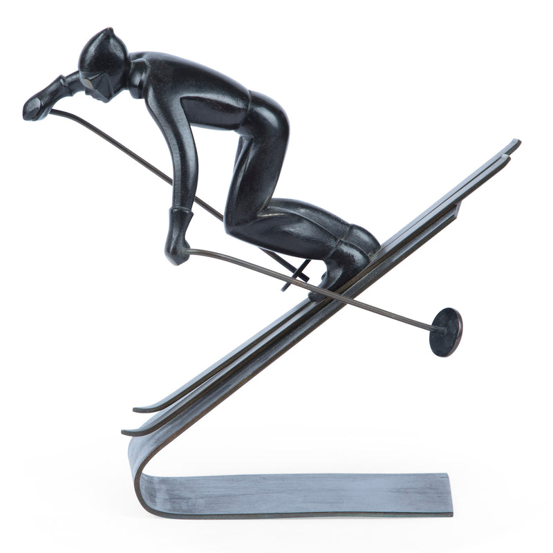 Richard Rohac Mid-Century Vienna Bronze Large Skier Sculpture