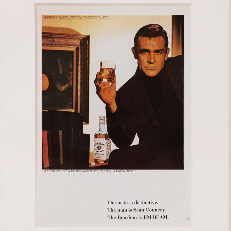 Sean Connery Jim Beam Bourbon Whiskey Vintage Advertisement