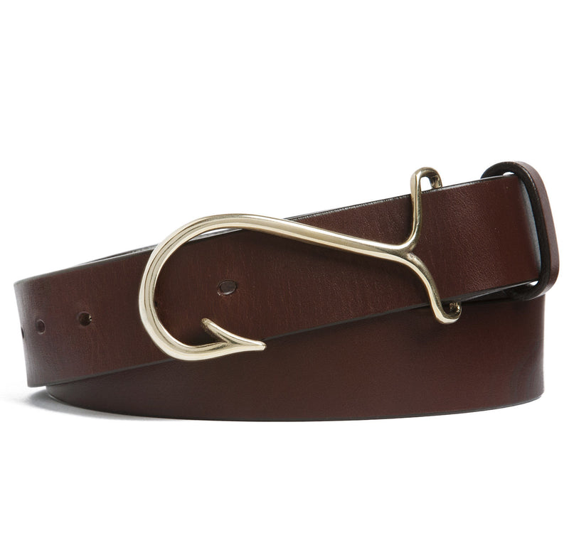 Sir Jack's Fish Hook Buckle with Brown Leather Belt