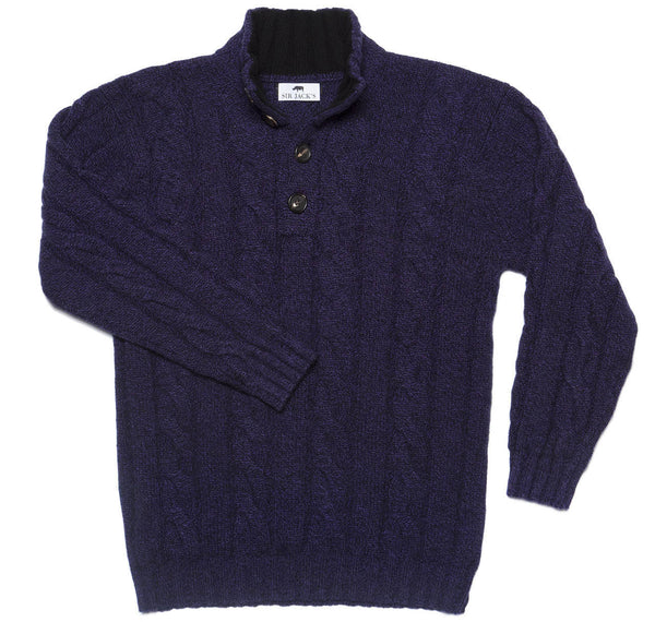 Sir Jack's Cashmere Cable Knit Mockneck Sweater in Dark Plum