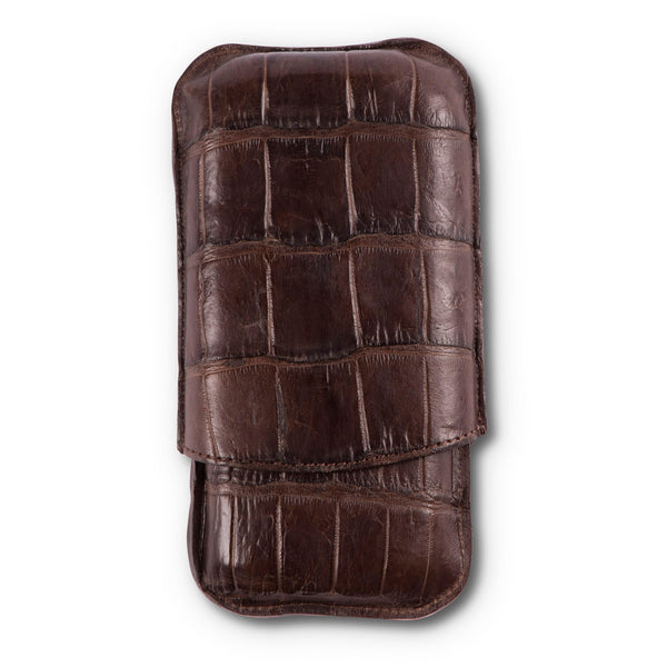 Chocolate Brown Alligator Leather Three Cigar Case