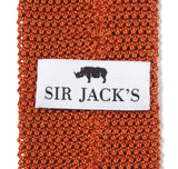 Classic Knit Silk Tie in Burnt Orange