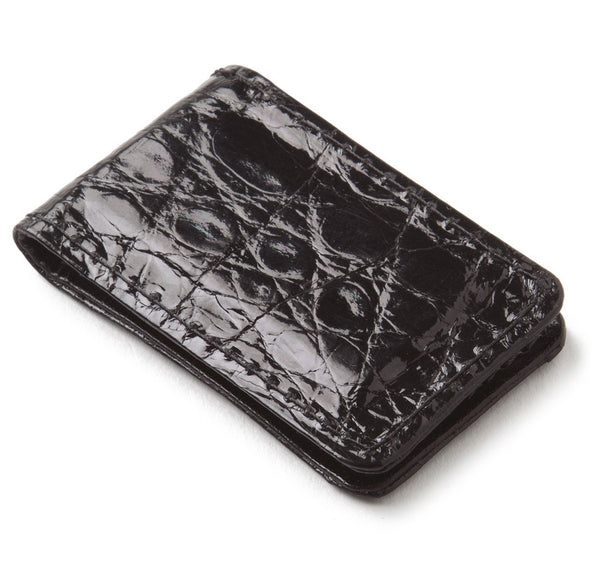 Glazed Black Alligator Money Clip