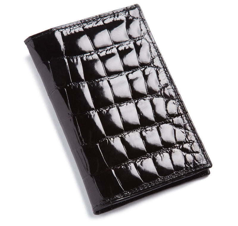 Glazed Black Alligator Travel Wallet
