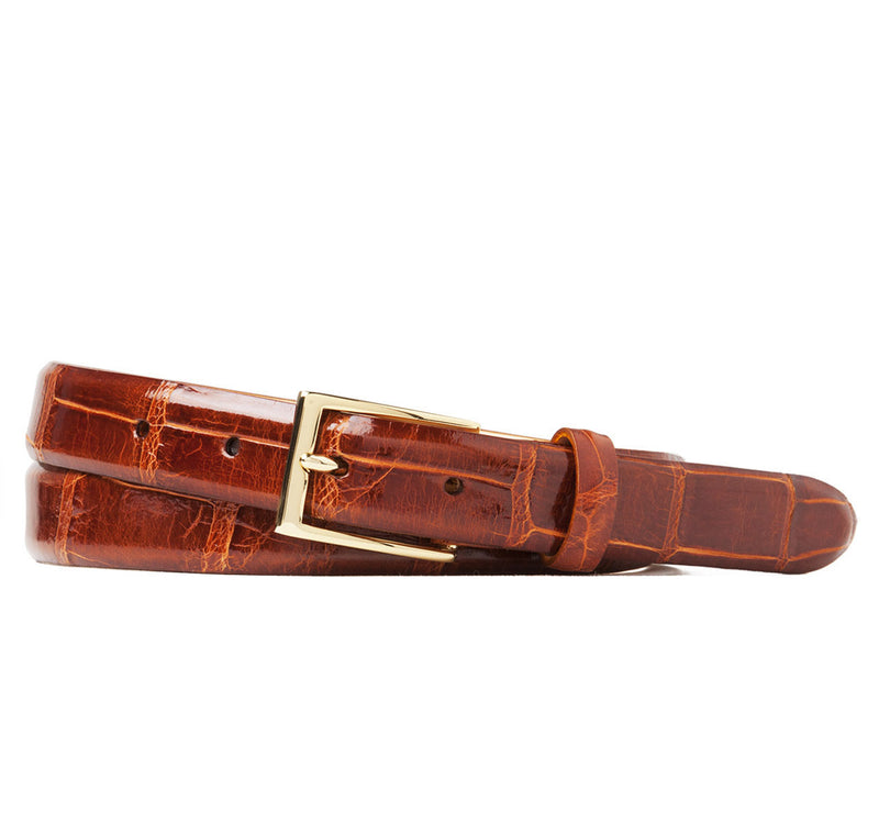 Sir Jack's Glazed Alligator Belt in Cognac