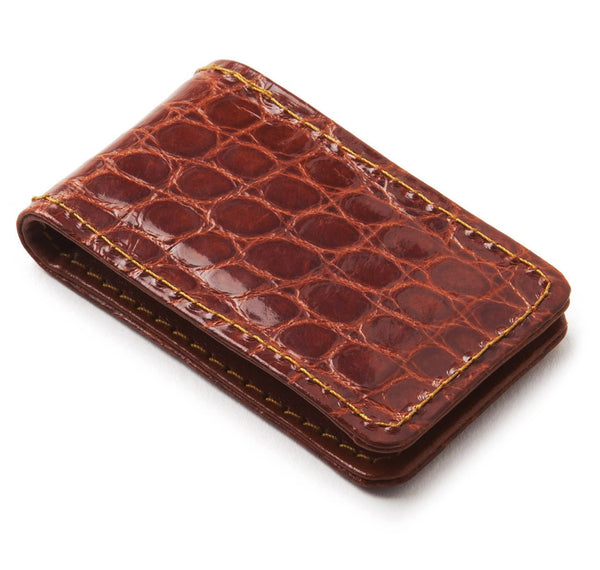 Sir Jack's Glazed Cognac Alligator Money Clip
