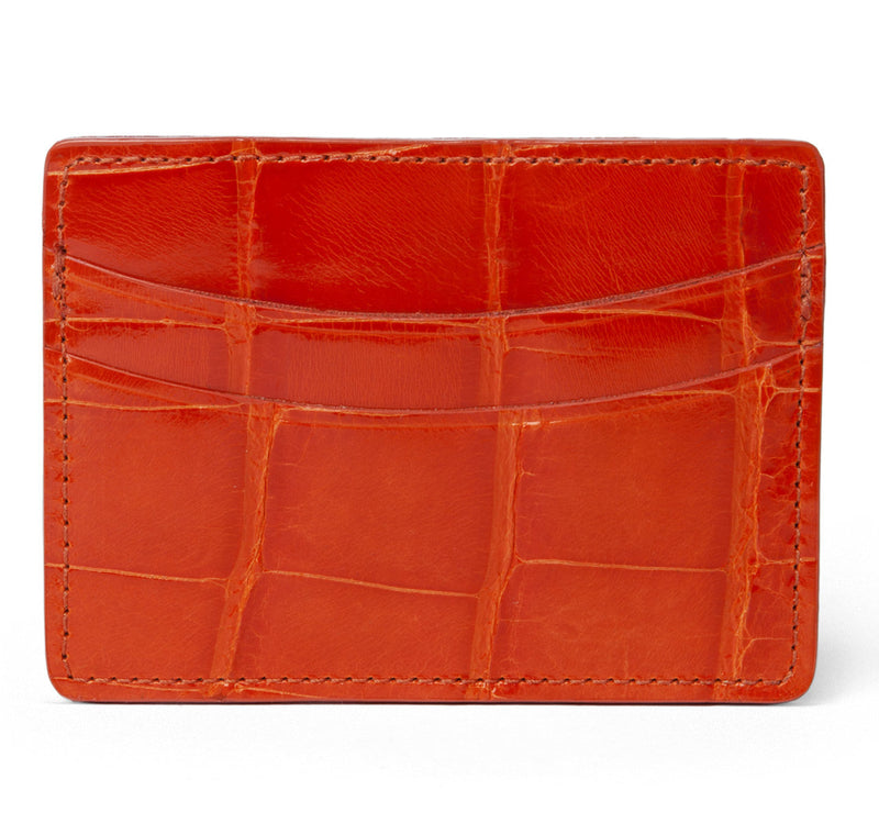 Glazed Orange Alligator Card Holder