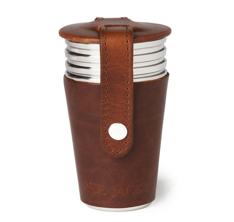 Sir Jack's Havana Leather Cup Set