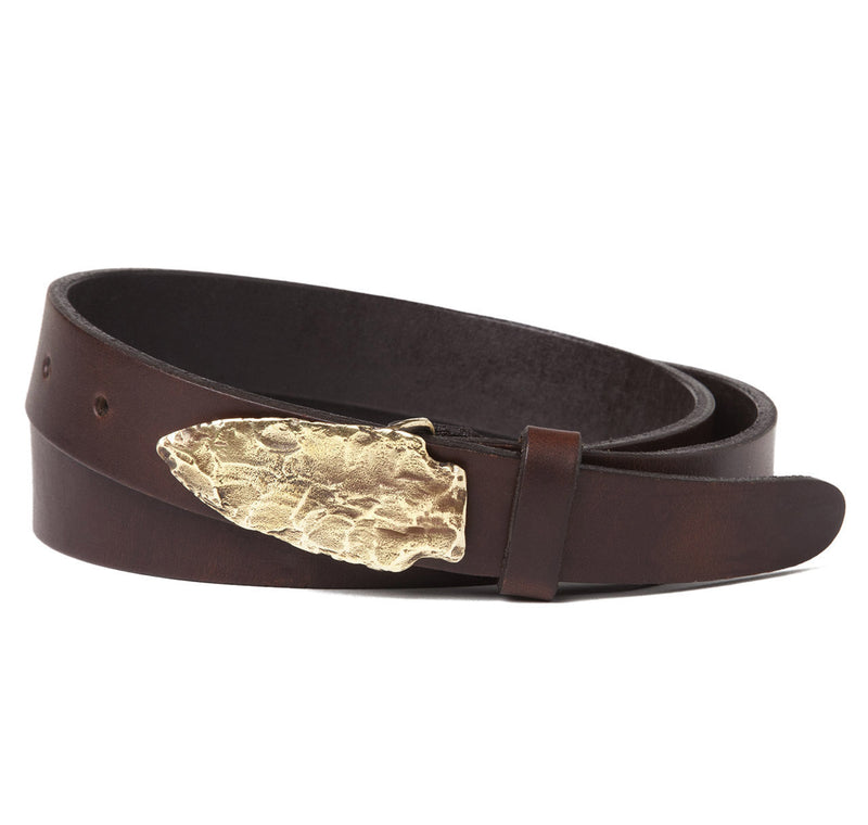 Massasoit Arrow Head Buckle with Brown Leather Belt