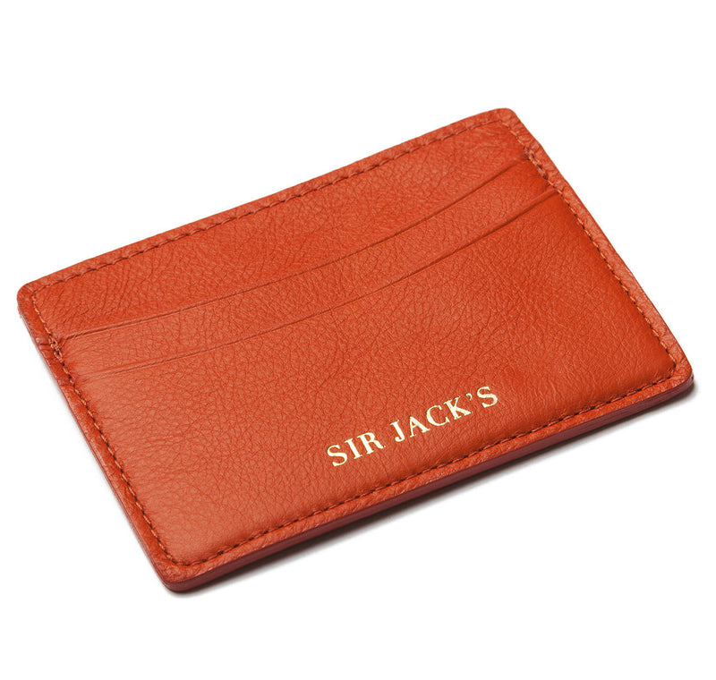 Orange Calfskin Card Holder
