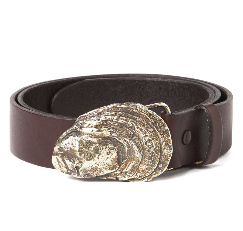 Sir Jack's Oyster Shell Buckle with Brown Leather Belt