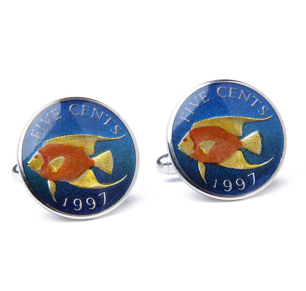 Sterling Bermuda Angel Fish Coin Cufflinks
