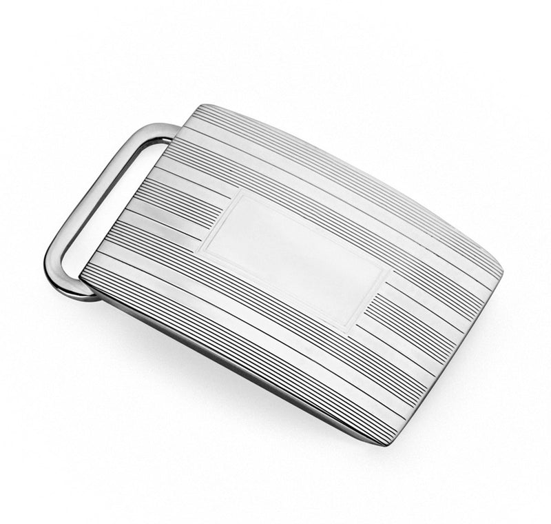 Sterling Engine Turned Belt Buckle