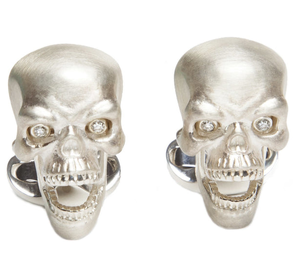 Sterling Silver Skull & Diamond Eyes Cufflinks