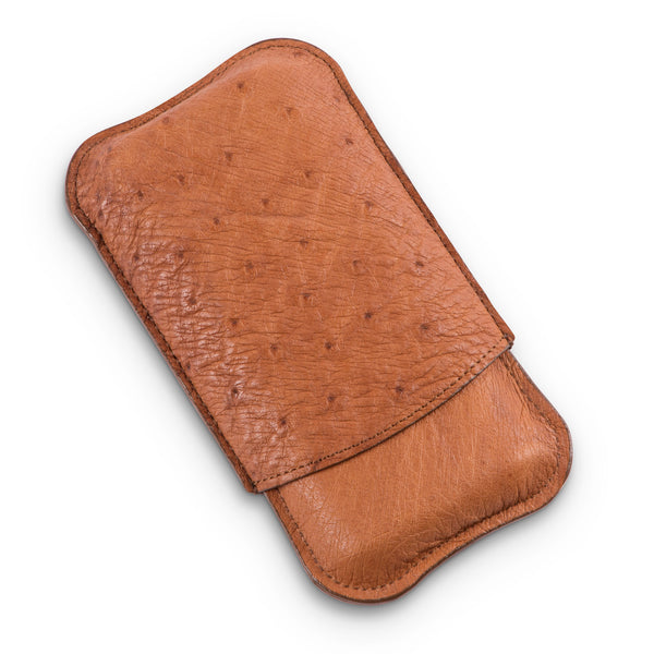 Sir Jack's Tan Ostrich Leather Three Cigar Case
