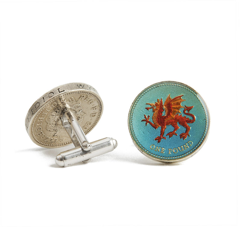 Sir Jack's Welsh Pound Coin Cufflinks