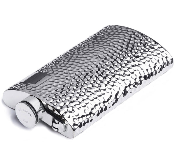 8oz Pewter Hammered Kidney Captive Top Flask