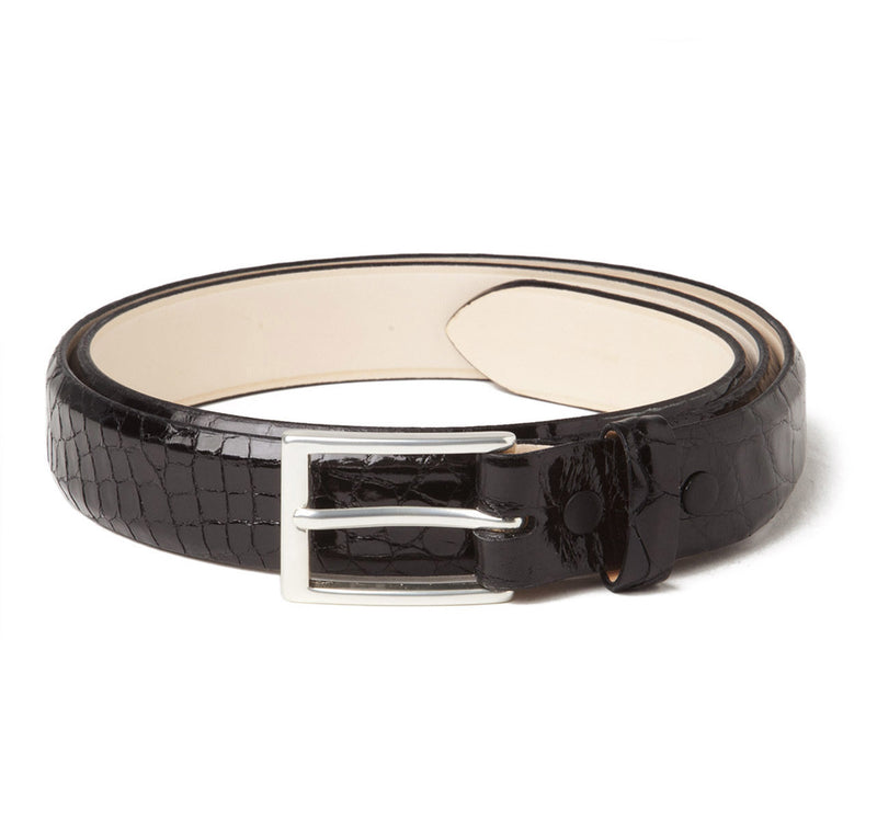 Sir Jack's Glazed Alligator Belt in Black