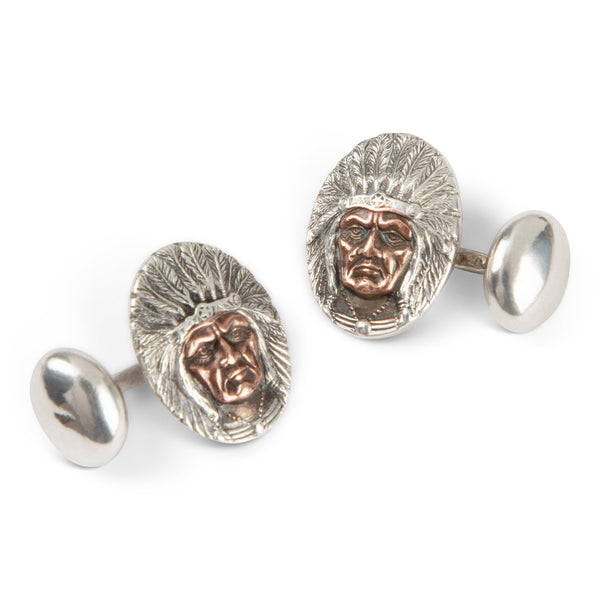 Sterling & Copper Indian Chief Cufflinks