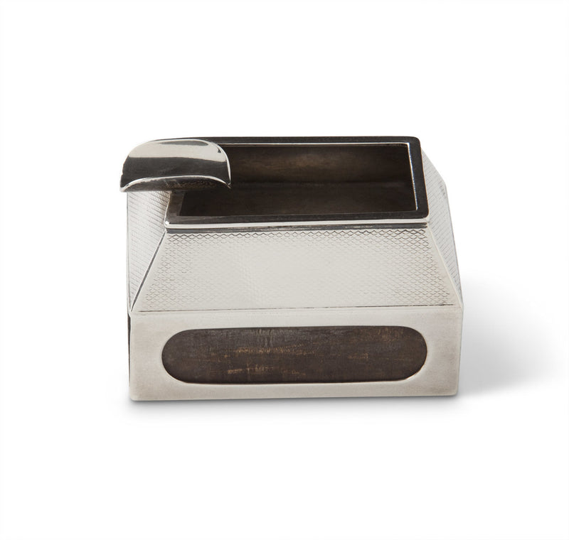 Sterling Silver Engine-Turned Ashtray & Matchbook Holder