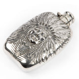 Unger Brothers Large Sterling Silver Indian Chief Flask